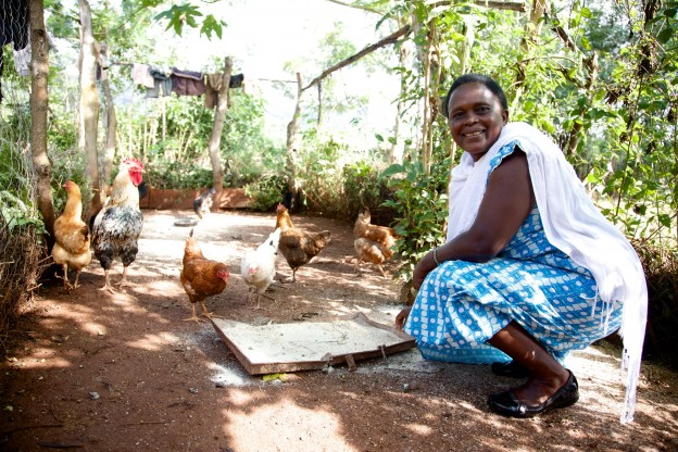 Margaret Chongana with her chickens