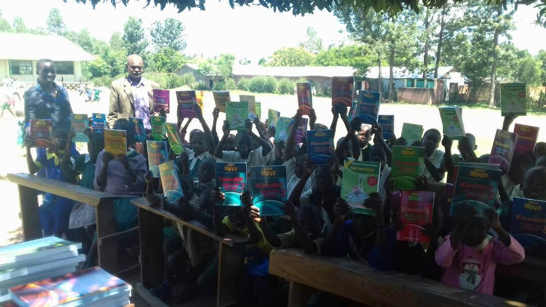 Text books presentation at Sango Primary School.