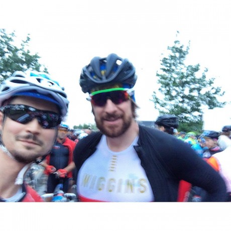 Our Ace Rider John cycling alongside the one and only Bradley Wiggins!!