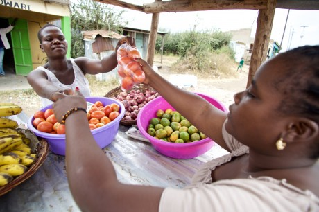 Woman selling produce in Homa Bay.