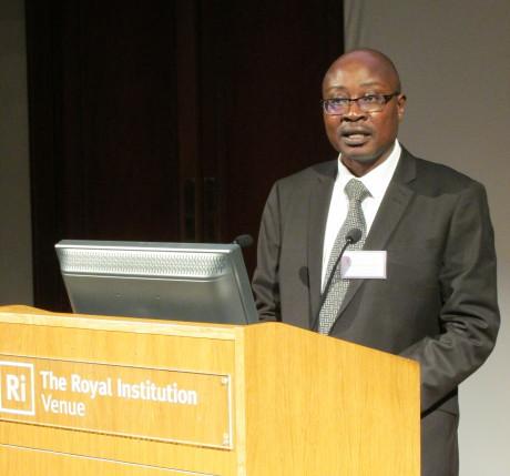 "Augustine giving a speech on behalf of Ace Africa Kenya ""Best Performing Organisation 2017"""